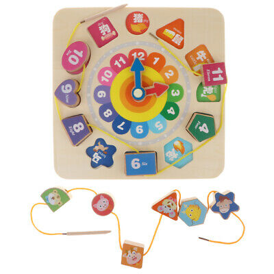 Wooden Number Clock Puzzle Jigsaw Early Learning Baby Kids Educational Toy
