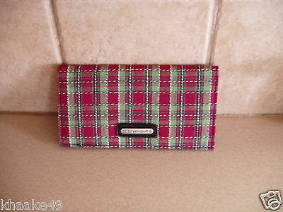 Longaberger Holiday Plaid Checkbook Cover With Photo Sleeve Nip * Free Shipping