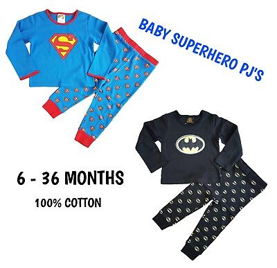 Baby Boys Batman Superman Superhero Pyjamas Long Sleeve Long Trousers Winter