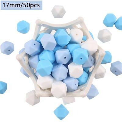 Baby Tete 50pcs 17mm DIY Sky Bule Silicone Teether Beads Hexagon Chewing Beads N