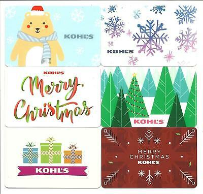 Lot of (6) Kohl's Gift Cards No $ Value Collectible Christmas Snowflake Bear