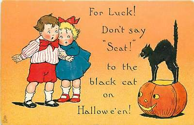 Halloween, Tuck No 188-1, For Luck! Don't Say Scat! to the Black Cat