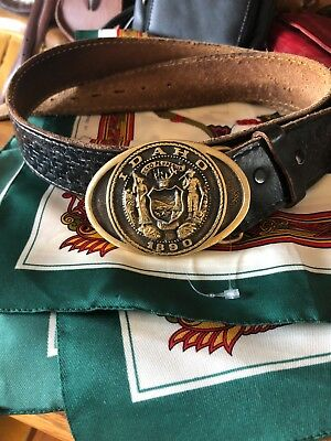 Antique belt buckle first security corporation solid brass excellent condition
