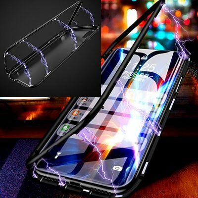 Magnetic Metal Slim Tempered Glass Glass Case Cover Skin for iPhone XS Max XR X