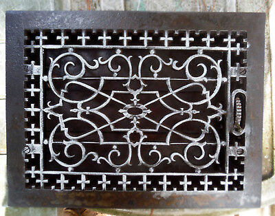 ANTIQUE Floor GRILLE CAST IRON VICTORIAN 15x12 w/ LOUVERS Grate HEAT REGISTER