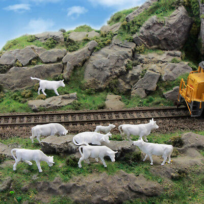 Model Railway 90PCS 1:87 Unpainted White HO Scale Farm Animals Cows and Figures