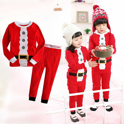 2018 Baby Kids Toddlers Xmas Mickey Santa Claus Suit Nightwear Pajamas Sleepwear