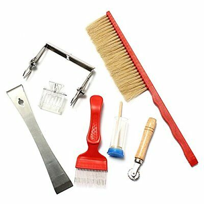 7 PCS Beekeeping Tool Kit Bee Brush Uncapping Fork Queen Catcher Spur wire Embed