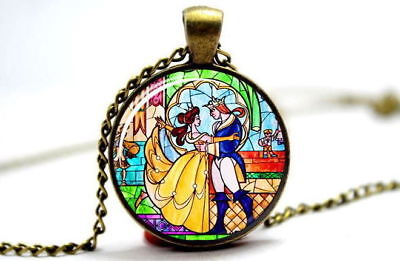 Vintage Disney Beauty And The Beast Glass Pendant Necklace Tale As Old As Time