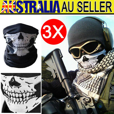 3pcs Bandana Face Shield Mask Fishing Headwear Biker Neck Tube Scarf Skull Head