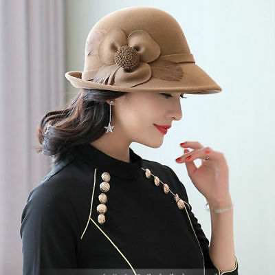Elegant Women's Wool Felt Flowers Church Bowler Hats Beret Cloche Bucket Hat
