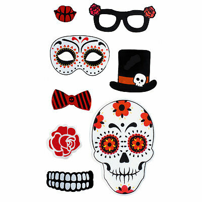 TRIXES Red Skull Floral Halloween Window Decorations