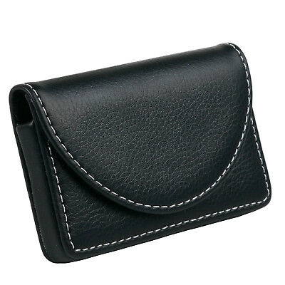 Stylish Black Leather Business Card Holder Magnetic Pouch - By TRIXES