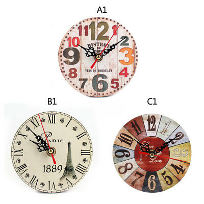 Vintage Retro Rustic Wooden Wall Clock Home Antique Chic Kitchen Room Decoration