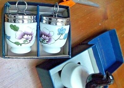 "PAIR BOXED STANDARD Royal Worcester Egg Coddlers ""ASTLEY"" + BOXED Pie Funnel"