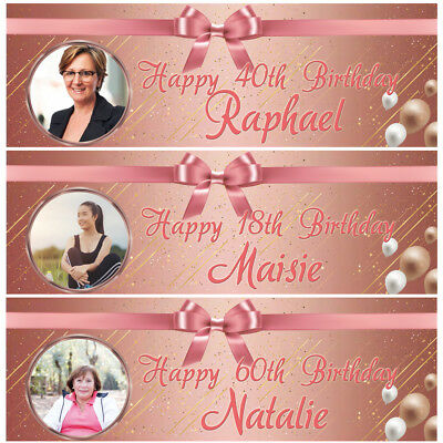 2 personalised birthday banner photo rose gold adults girl party balloon poster