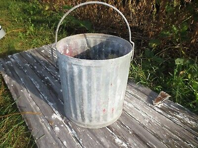 Antique Vtg WITTS Industrial Galvanized Riveted Steel 5 Gal Pail Trash Can Witt
