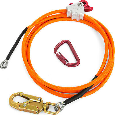 "Climbing 1/2"" X 10' Steel Core Lanyard Kit Flipline 75222 Swivel Snap"
