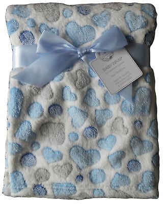 Baby Boys Girls Gorgeous White with Blue and Grey Love Hearts Spots Wrap Blanket