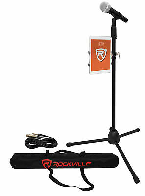 Rockville Karaoke Microphone+Mic Stand+Carry Bag+Cable+iPadiPhone Mount Clamp