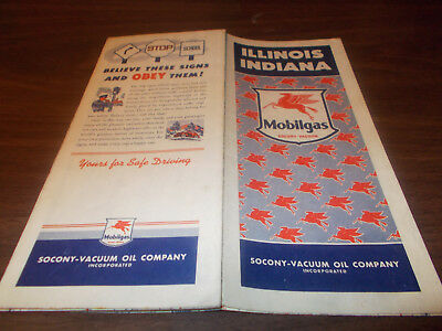 1940s Mobil Illinois/Indiana Vintage Road Map
