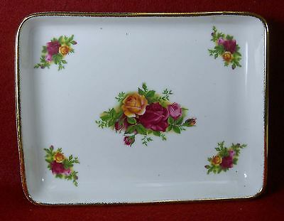 "ROYAL ALBERT china OLD COUNTRY ROSES pattern Rectangular Tray 6-5/8"" x 5-1/8"""