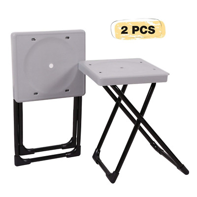 Folding Stool Portable Set of 2, Lightweight Camping Stools Plastic Chairs