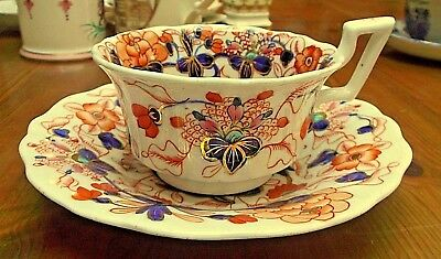Antique Gaudy Welsh Cup And Saucer Imari Style