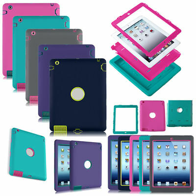 Back Cover Case Shock Proof Rubber Silicon For Apple iPad 2 3 4 Air 2 Mini 4