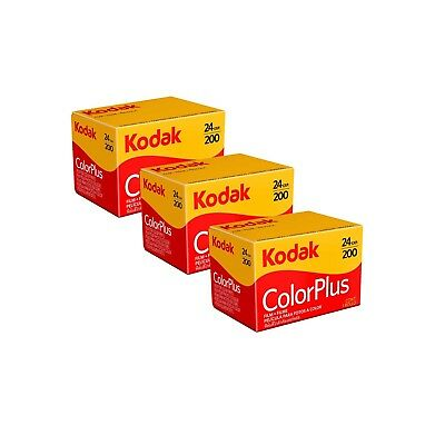 3 Pack of Kodak ColorPlus 200 ASA 35mm Colour Print Film 135-24 Exposures