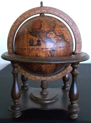 "Vintage Wooden Zodiac Olde World Desktop Globe old Italian Italy 12"" tabletop"