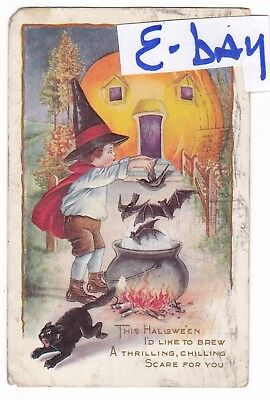 1917 Halloween Black Cat Jack O Lantern House Scared Vintage Postcard Whitney !!