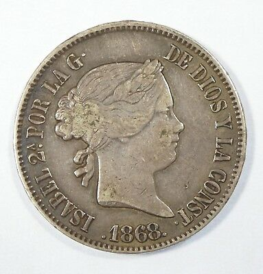 1868 PHILIPPINES Isabella II Silver 50 Centimos Coin EXTRA FINE