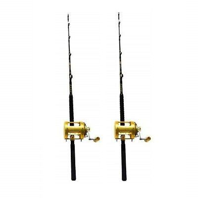 2 Pack Combo 80 Wide 2 Speed Fishing Reels & 160-200 lbs Custom Tournament Rods