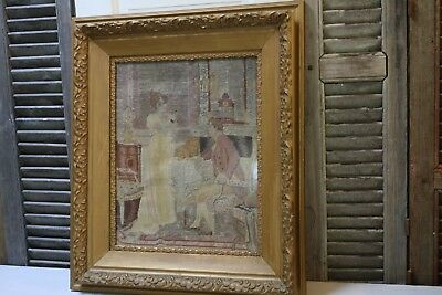 Antique Needlepoint Romantic Couple French Interior Scene Gilt Frame Under Glass
