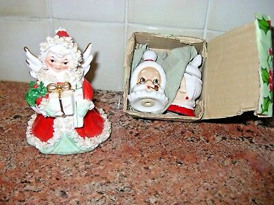 Vintage Christmas Angel Planter Napco & Lefton Santa Claus Shakers in Box