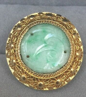 Antique Chinese Carved Jade Gilt Silver Filigree Vintage Ring size 6 1/4