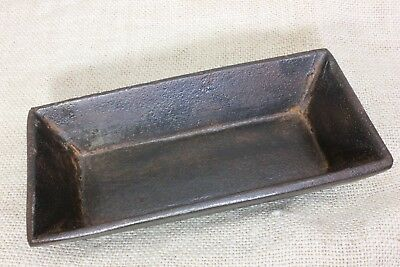 CHICKEN CAT CHICK feed trough salesman sample 1800s vintage iron loaf pan 6  5/8