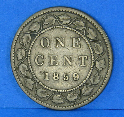 1859 Victoria Large One Cent Penny Canadian Coin Wide 9 Over 8 Rare Variety