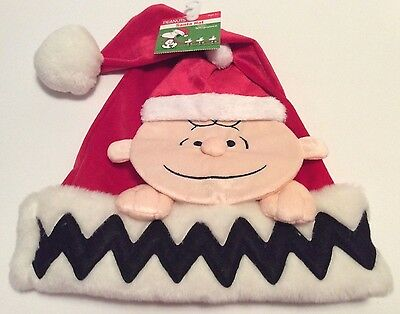 Peanuts Charlie Brown Christmas Holiday Santa Hat Red With Charlie Brown Face