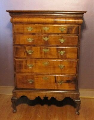 Rare 18th C. EARLY AMERICAN Mahogany Chest on Stand  c. 1750   antique table