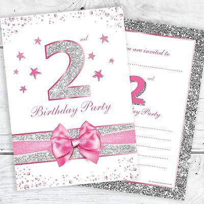 2nd birthday invites pink sparkly design with photo silver glitter