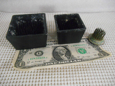 3 Vintage METAL FLOWER FROGS with METAL SPIKES 2 Square 1 Round
