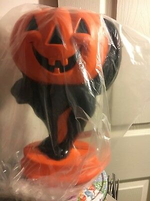 "New halloween Lighted 14"" cat with pumpkin table top blow mold"