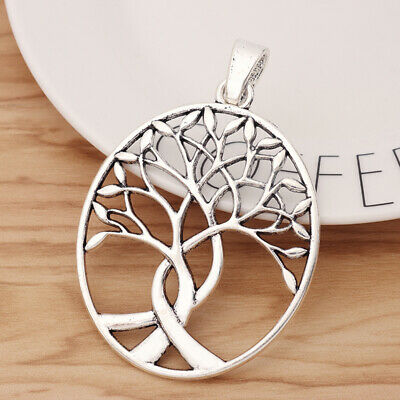 2Pcs Antique Silver Large Tree Charms Pendants for Necklace Jewellery Making