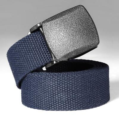 Mens Canvas Web Belt Military Style With Nickel Free Buckle Webbing Work Fabric#
