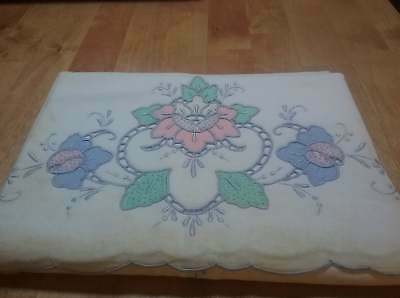 Set Two Gorgeous Vintage Genuine Hand Made Pillowcases Applique 20x32""