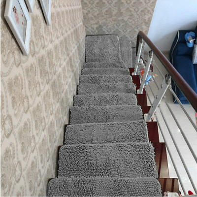 1/13pcs Gray Chenille Carpet Stair Tread Mat Staircase Step Rug Protection Cover