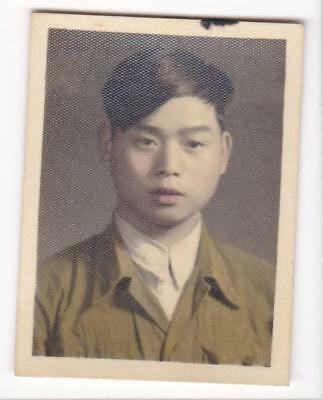 Chinese Young Man Small Hand Colored Studio Photo 1950s-1960s China