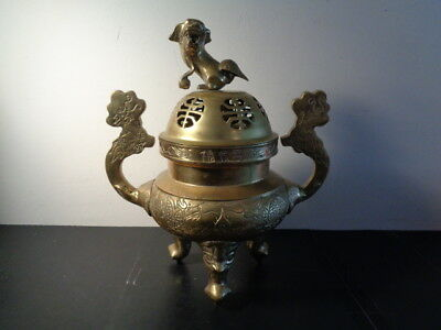 Antique 19th Century Heavy Brass Chinese Lidded Censer W/Foo Dog & Dragons